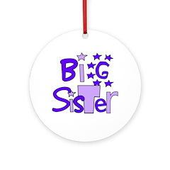 purple big sister funky stars Ornament (Round)