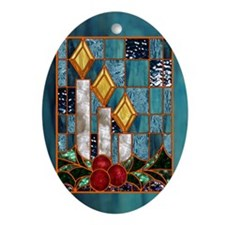 Christmas Candles Oval Ornament