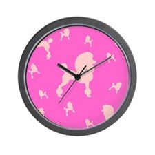 Pink on Pink Poodles Wall Clock