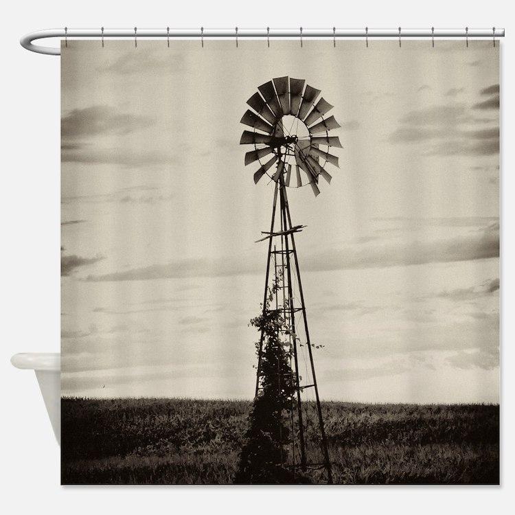 Iowa Farm Windmill Shower Curtain