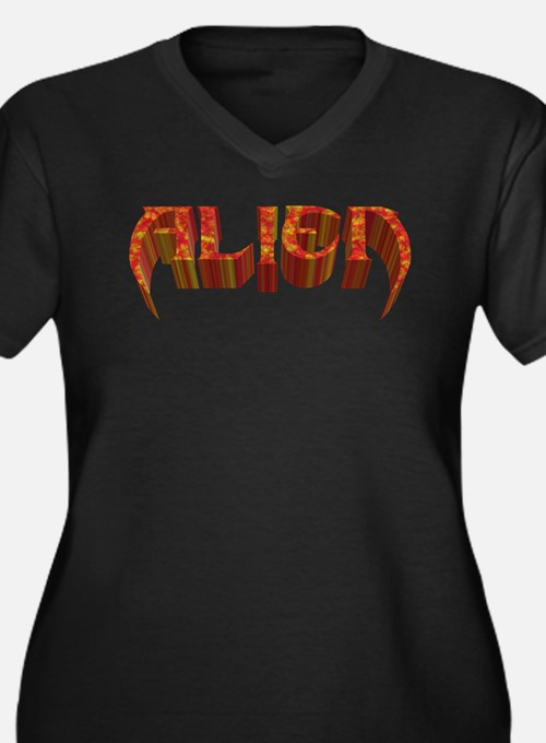 """Alien"" Rustic Women's Plus Size V-Neck Dark T-Shi"