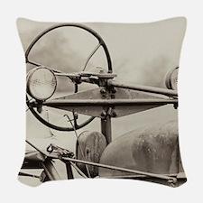 Vintage Farm Tractor Woven Throw Pillow