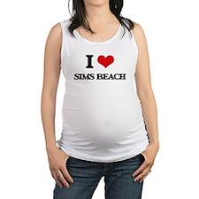 I Love Sims Beach Maternity Tank Top