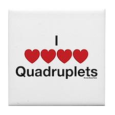 I Love Quadruplets Tile Coaster