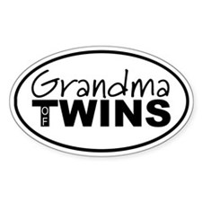 Grandma of Twins Oval Bumper Stickers