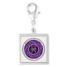 Alzheimers Disease Hope Silver Square Charm
