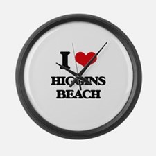 I Love Higgins Beach Large Wall Clock