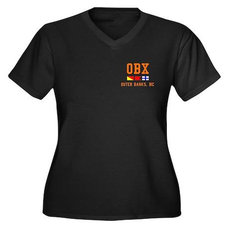 OBX Women's Plus Size V-Neck Dark T-Shirt