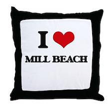 I Love Mill Beach Throw Pillow