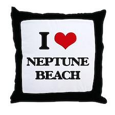 I Love Neptune Beach Throw Pillow