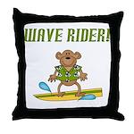 Surfer Monkey Throw Pillow