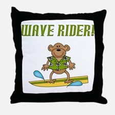 Surfer Monkey Throw Pillow