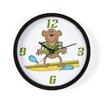 Surfer Monkey Wall Clock