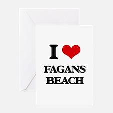 I Love Fagans Beach Greeting Cards