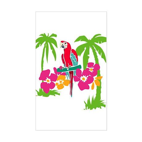 Resden Pretty Parrot Rectangle Sticker