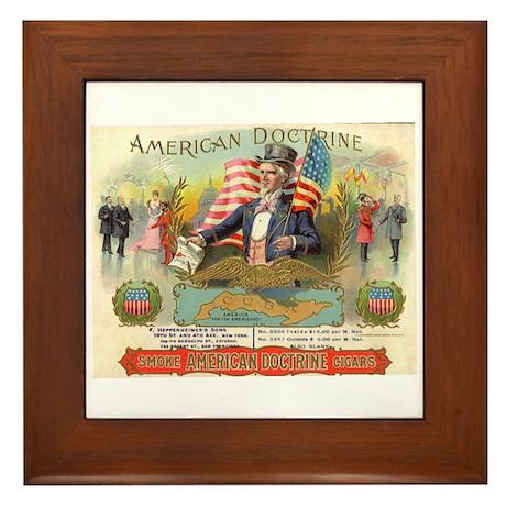 American Doctrine Cigar Art Framed Tile