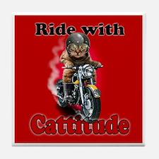 Ride with Cattitude Tile Coaster