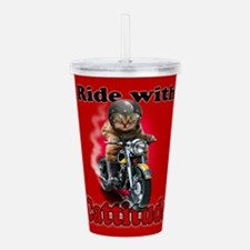 Ride With Cattitude Acrylic Double-Wall Tumbler