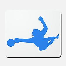 Blue Soccer Goalie Silhouette Mousepad