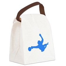 Blue Soccer Goalie Silhouette Canvas Lunch Bag