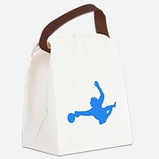 Blue Soccer Goalie Silhouette Canvas Lunch Bag