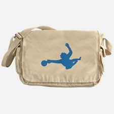Blue Soccer Goalie Silhouette Messenger Bag