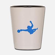 Blue Soccer Goalie Silhouette Shot Glass