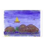 sailboat and rocks Postcards (Package of 8)
