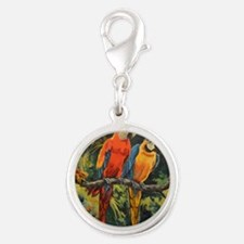 Parrots Silver Round Charm