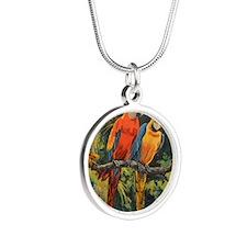 Parrots Silver Round Necklace