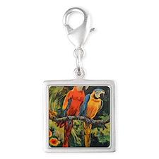 Parrots Silver Square Charm