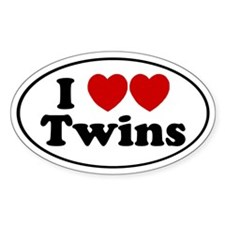 I heart heart Twins Oval Decal
