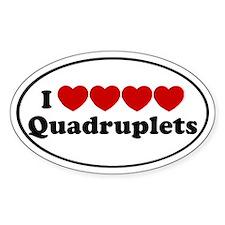I heart Quadruplets Oval Decal
