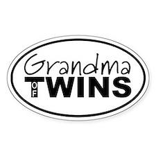 Grandma of Twins Oval Decal