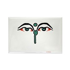 Watchful Eyes of Buddha Rectangle Magnet (10 pack)