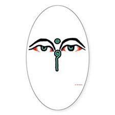 Watchful Eyes of Buddha Oval Decal