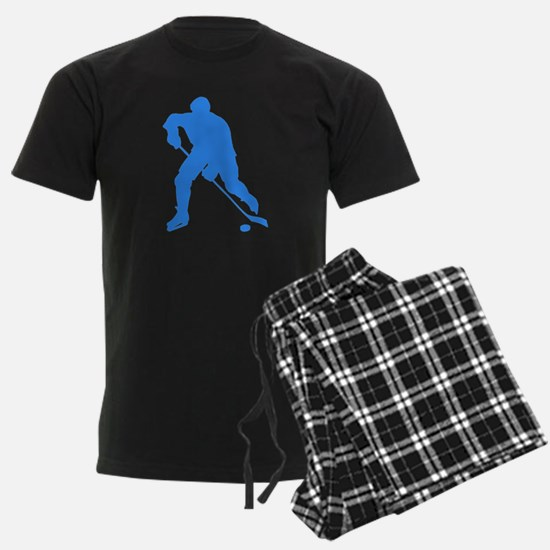 Blue Hockey Player Silhouette Pajamas