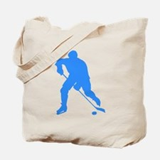 Blue Hockey Player Silhouette Tote Bag