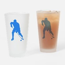 Blue Hockey Player Silhouette Drinking Glass