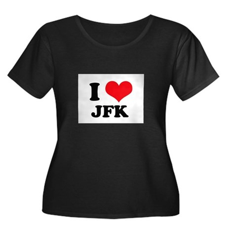 I Love JFK Women's Plus Size Scoop Neck Dark T-Shi