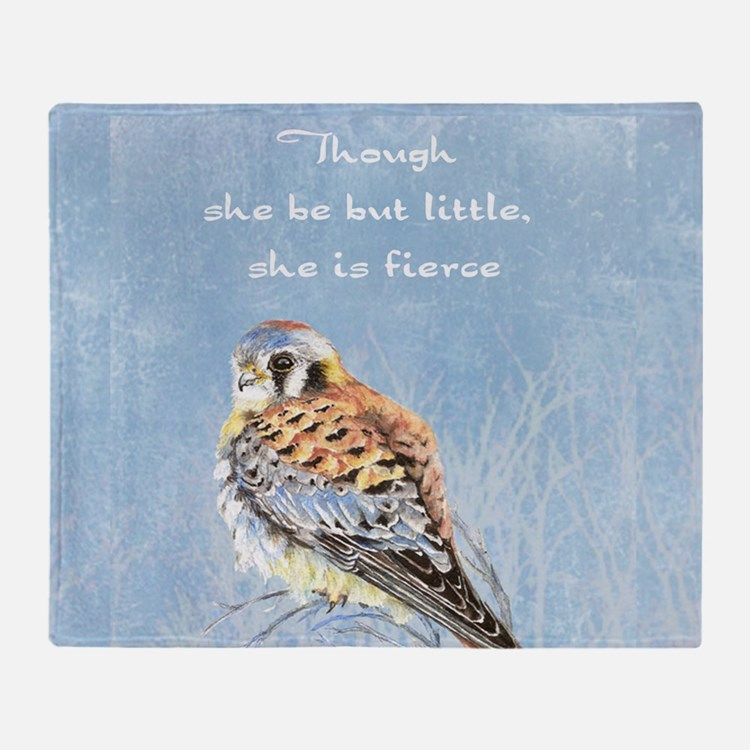 Little but Fierce Quote Kestrel Watercolor Falcon