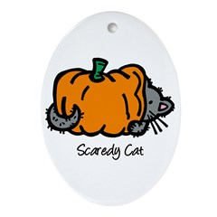 Pumpkin Scaredy Cat Oval Ornament