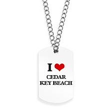 I Love Cedar Key Beach Dog Tags