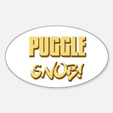Puggle Snob - gold Oval Decal