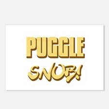 Puggle Snob - gold Postcards (Package of 8)