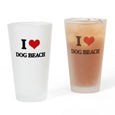 I Love Dog Beach Drinking Glass