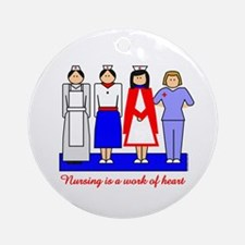 Nursing Is A Work Of Heart Ornament (Round)