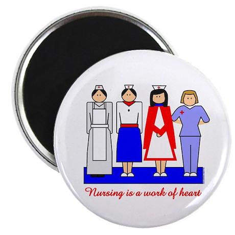 "Nursing Is A Work Of Heart 2.25"" Magnet (10 pack)"