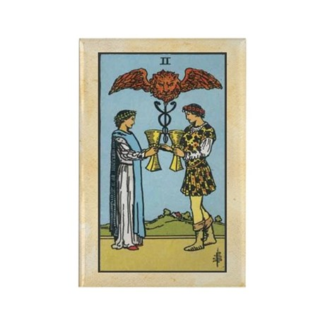 Two of Cups Tarot Rectangle Magnet