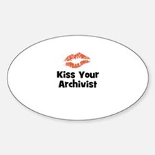 Kiss Your Archivist Oval Decal